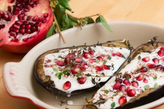 """""""Eggplant with Buttermilk Sauce"""" from """"Plenty: Vibrant Vegetable Recipes from London's Ottolenghi"""" by Yotam Ottolenghi"""