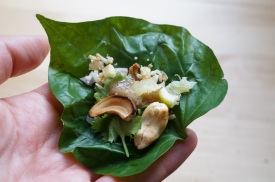 """Miang Käm (Mouthful of Tidbits Wrapped in a Leaf)"" from ""It Rains Fishes: Legends, Traditions, and the Joys of Thai Cooking"" by Kasma Loha-unchit"