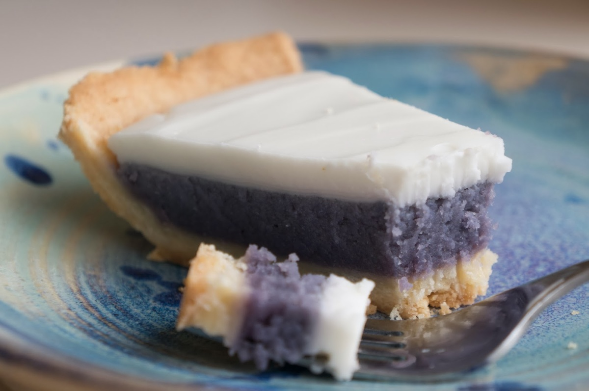 Hawaiian Okinawan Sweet Potato Pie With Haupia Topping Lox Stock