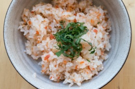 """Seasoned Salmon Flakes"" from ""Washoku: Recipes from the Japanese Home Kitchen"" . These salmon flakes can be used in many dishes, such as a stuffing for Onigiri (Rice Balls) or to make ""Rice Tossed with Salmon Flakes"" (also from ""Washoku"")."