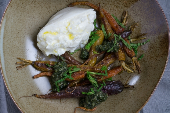 """""""Roasted Carrots with Carrot-Top Pesto and Burrata"""" from """"A Girl and Her Greens"""" by April Bloomfield"""