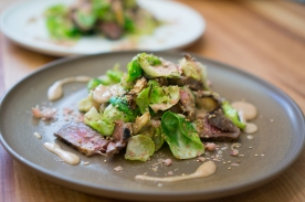 """Beef Salad with Brussels Sprouts, Maitakes & Umeboshi-Rosemary Vinaigrette"" by Chef Brioza from State Bird Provisions"